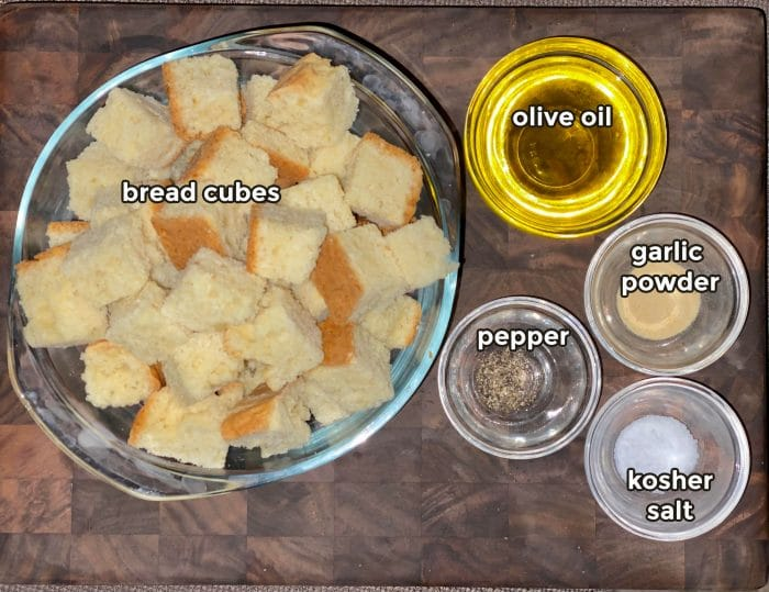 ingredients to make homemade croutons