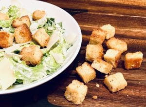 easy homemade croutons ith bowl of salad