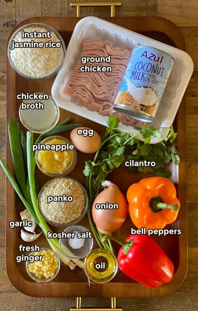 Ingredients to make one pot chicken meatballs with jasmine rice