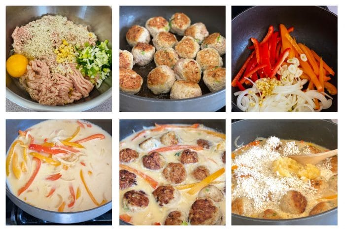 Step by step photos for making meatball reipe with coconut sauce