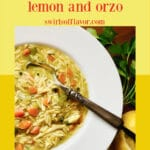 chicken rzo soup with spoon and text overlay