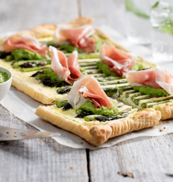 asparagus tart with ricotta and prosciutto