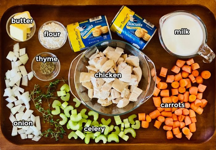 inredients for making a chicken pot pie
