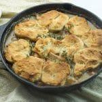 easy chicken pot pie in cast iron skillet