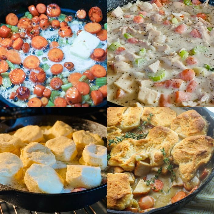 step by step collage for how to make chicken pot pie