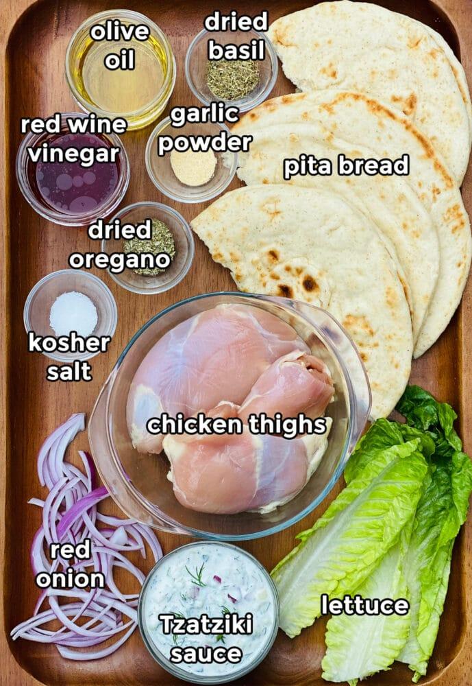 ingredients to make a chicken gyro sandwich