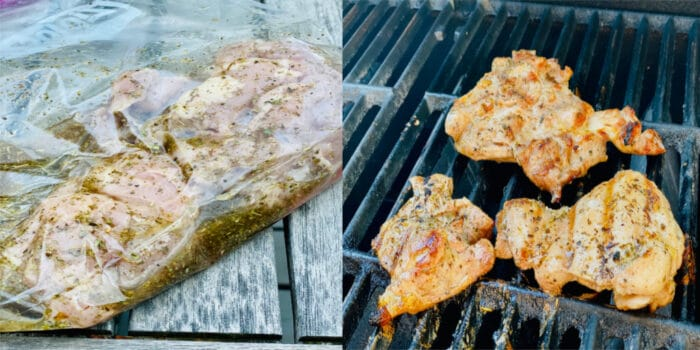 Chicken marinating in a food storage bag and chicken cooking on the grill.