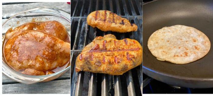 marinate chicken, grill chicken and toast corn tortillas