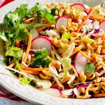easy ramen noodle salad in bowl