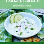 tzatziki sauce in bowl with text overlay