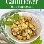 air fired cauliflower with text overlay