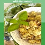 air fryer cauliflower in white dish with text overlay