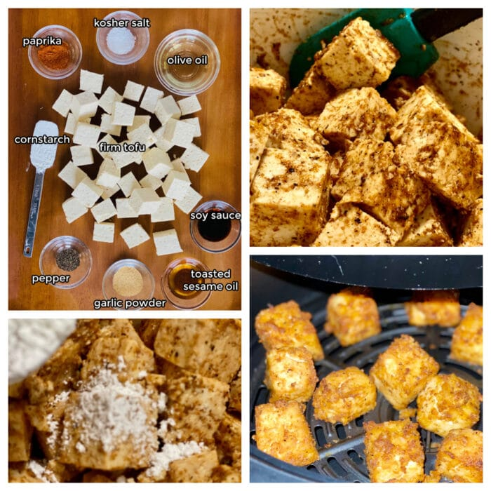 collage of steps to make air fryer tofu