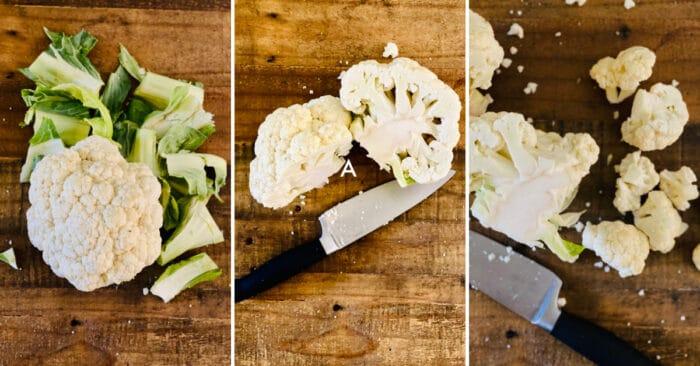 step by step how to cut cauliflower